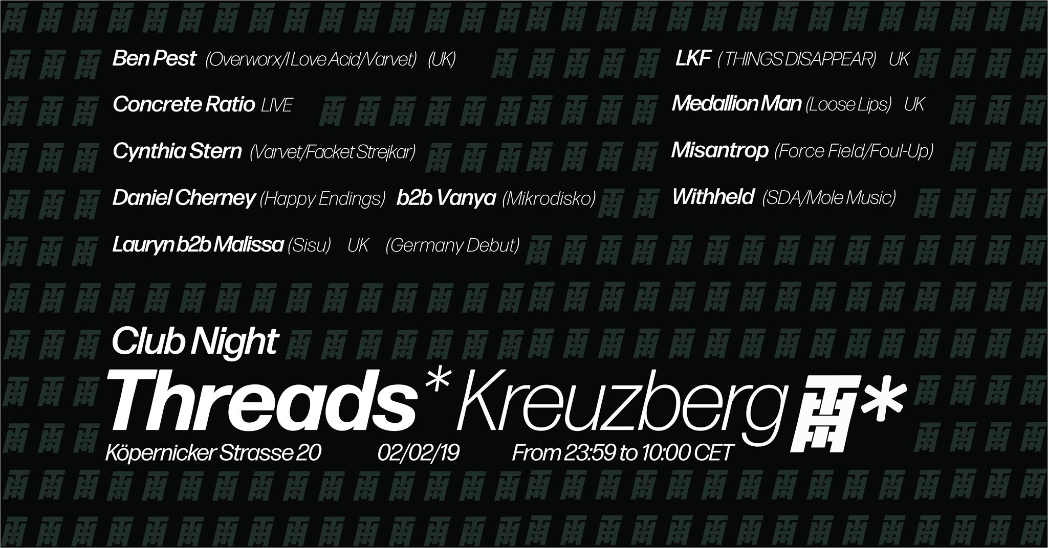 Threads*Kreuzberg Pop Up – Club Night (02/02/19)